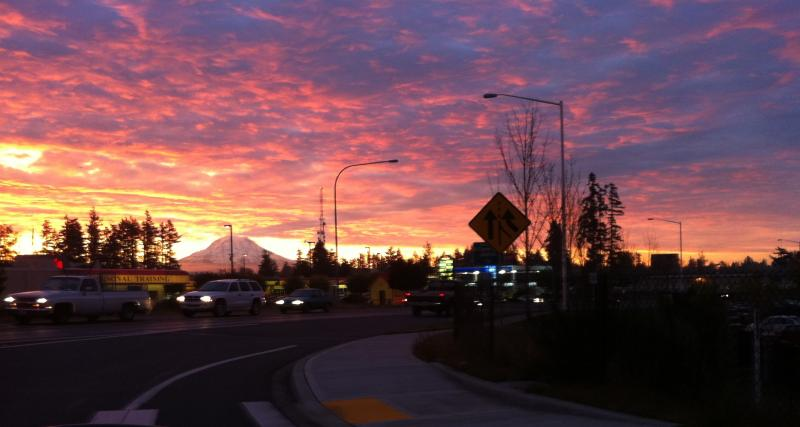 The view of a sunrise from Tacoma on Wednesday, Oct. 26.