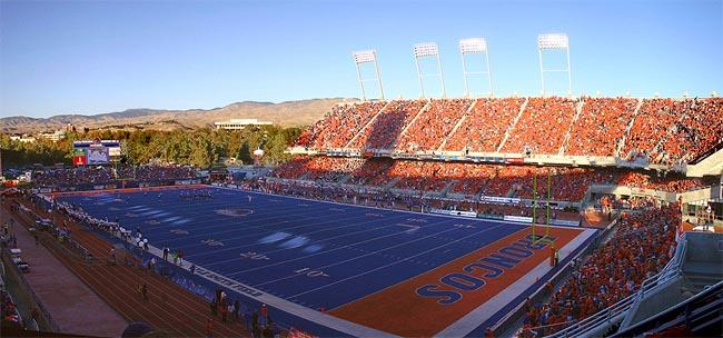 A view of the famous Blue Turf at Boise State University's Bronco Stadium. Boise State's football program will join the Big East in 2013