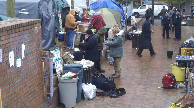The scene at the Occupy Seattle encampment at Seattle Community College earlier this week. The protesters are supposed to be gone by this afternoon.