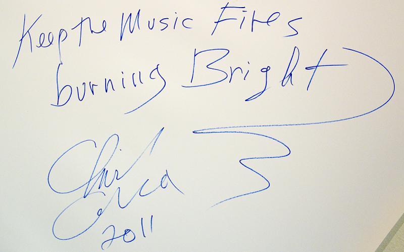 Chick Corea signed the wall at KPLU Studios on Dec. 2, 2011.