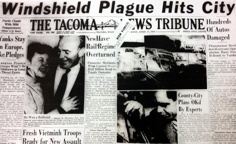The terror that gripped the Northwest in 1954 came to be called the Windshield Pitting Incident.