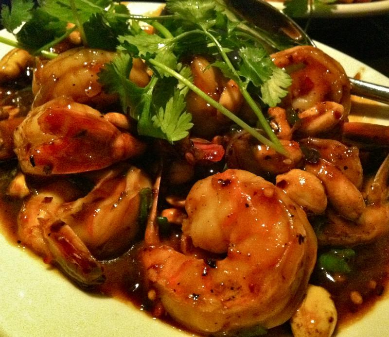 The barbecue shrimp at Wild Ginger. Note the presence  and stabilizing influence of the tails.