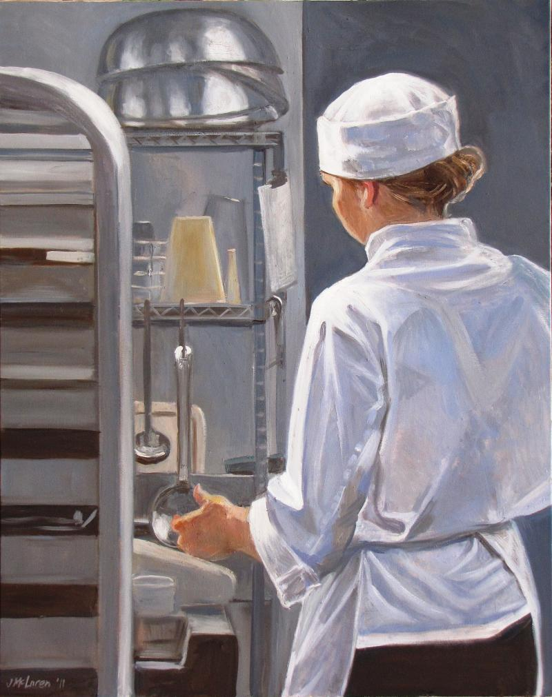 "Judy McLaren is spending her 6-month residency at the Fairmont Empress hotel painting scenes of the hotel as well as the staff. This one is called ""In the Pastry Kitchen."""