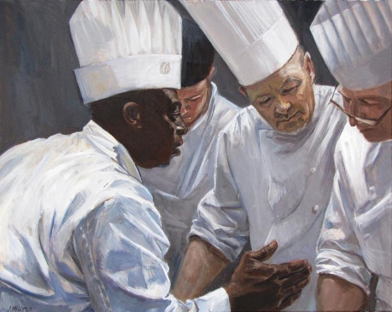 """Pastry Chefs,"" an oil painting in a series of work by Judy McLaren, the artist-in-residence at the Fairmont Empress hotel in Victoria, B.C."