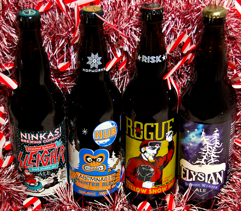 Left to right: Ninkasi's Sleigh'r Dark Doüble Alt, Hopworks' Abominable Winter Ale, Rouge's Yellow Snow IPA, and Elyisan's Bifrost Winter Ale.