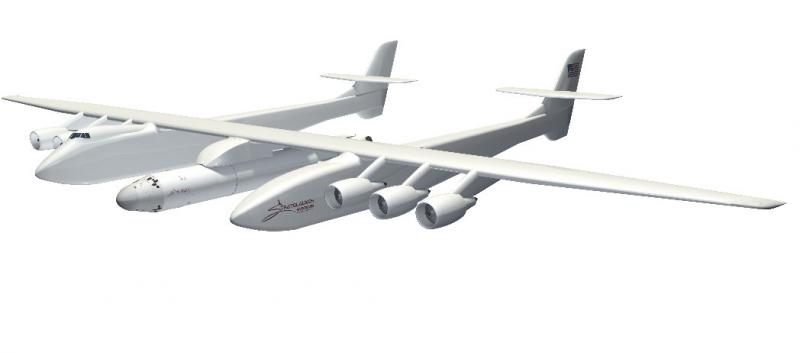 What Paul Allen's new ship -- carrier aircraft with spaceship hanging in the middle -- will look like.