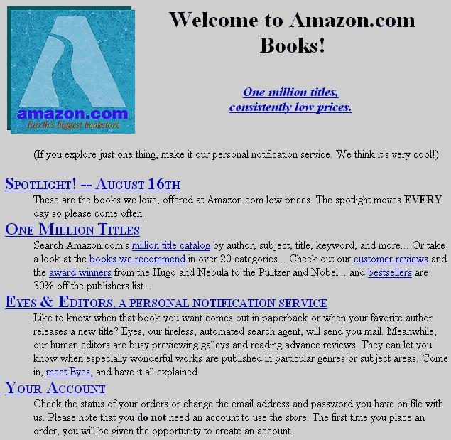 Amazon's first website, circa 1994. 2012 should be a great year for the Seattle-based company.