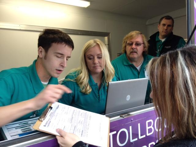 Mobile 'Good to Go' teams are eager to sign up new customers, as tolling on the 520 bridge starts in less than a month.
