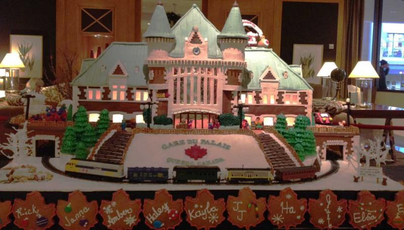 The Gare du Palais in Quebec as a gingerbread house, one of six molasses marvels on display at the 19th Annual Gingerbread Village at the Seattle Sheraton.