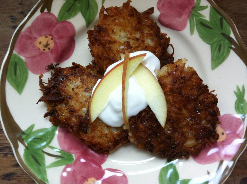 Nancy's latkes, recipe courtesy of Seattle's Matzoh Momma Catering.