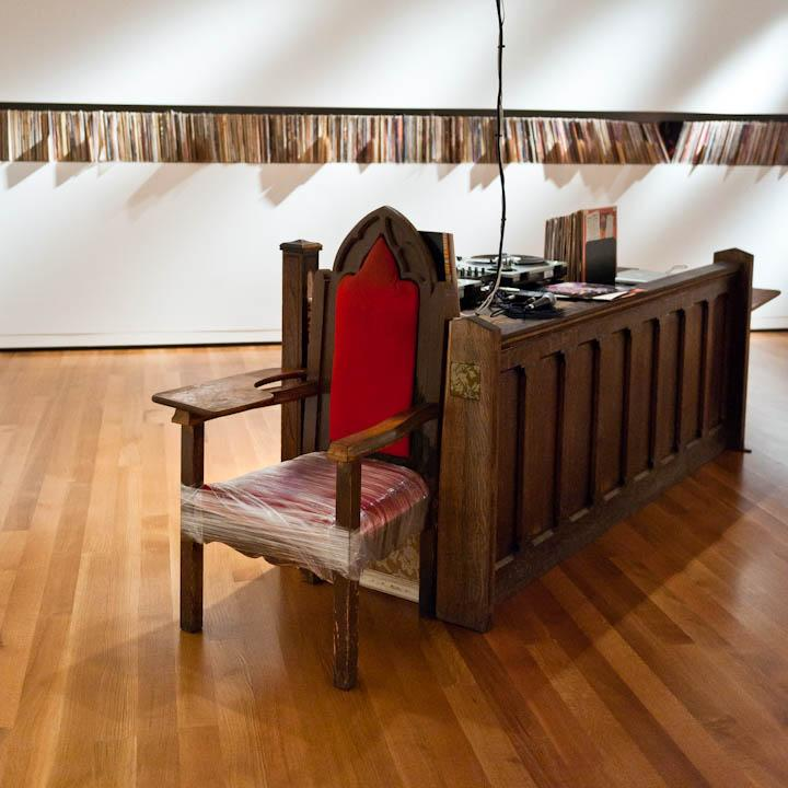 Installation shot of Theaster Gates: The Listening Room at Seattle Art Museum. Courtesy of the artist and Seattle Art Museum.