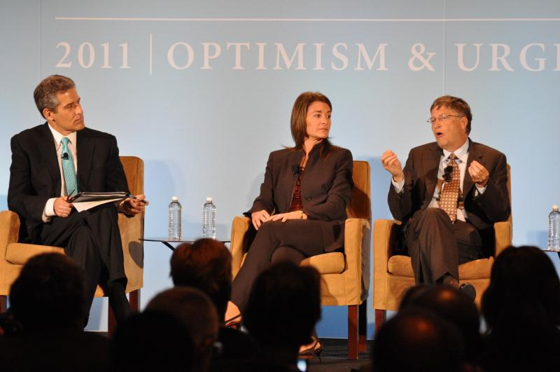 Bill and Melinda Gates speak at Malaria Forum, with moderator ABC News' Richard Besser