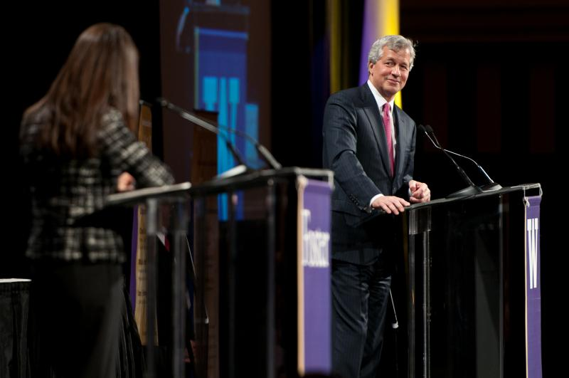 JP Morgan Chase CEO Jamie Dimon takes questions at a University of Washington business school event in Seattle on Nov. 2, 2011.