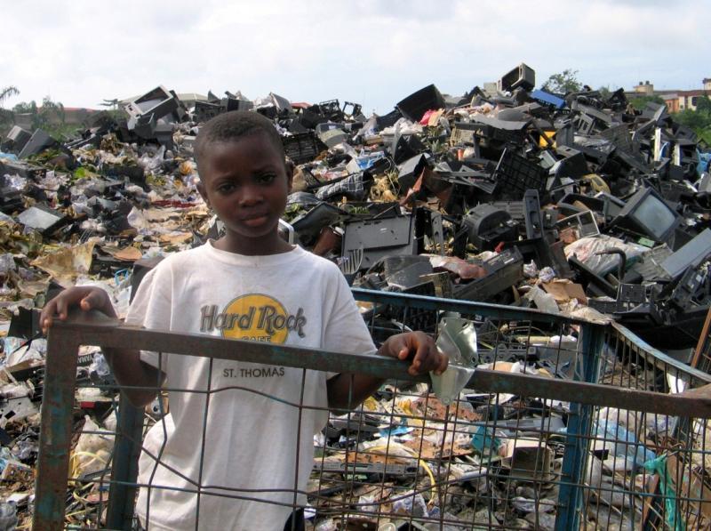 A young e-waste scavenger in Lagos, Nigeria.