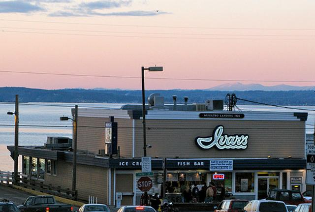 Winds and a high tide sent a surge of water this week toward this Ivar's Restaurant in Mukilteo -- strong enough to erupt through the floorboards.