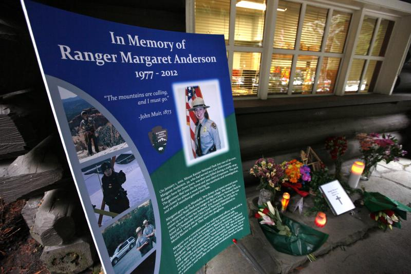A memorial for Mount Rainier National Park Ranger Margaret Anderson is seen at the Nisqually entrance to the park Saturday.