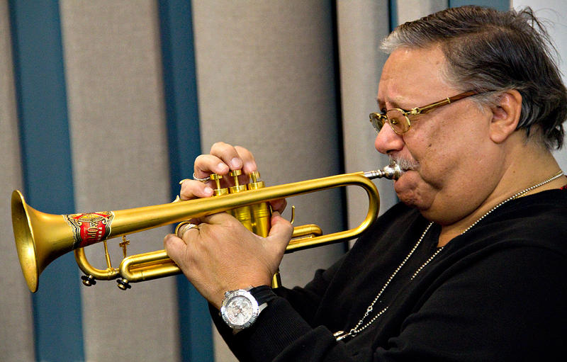 Trumpet legend Arturo Sandoval performing live in the KPLU Seattle studios on January 13.