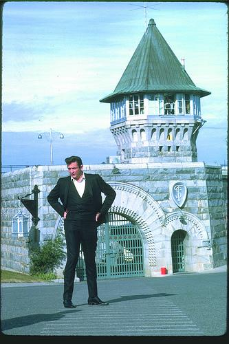 Johnny Cash outside Folsom Prison
