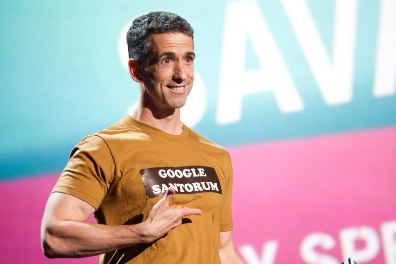Dan Savage appears onstage at the 15th Annual Webby Awards in New York in June 2011.