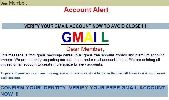 Phishing scam designed to trick you into surrendering your account info.