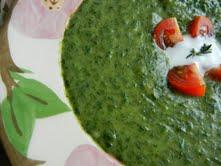 Nancy made this spinach soup from Mollie Katzen's legendary Moosewood Cookbook.