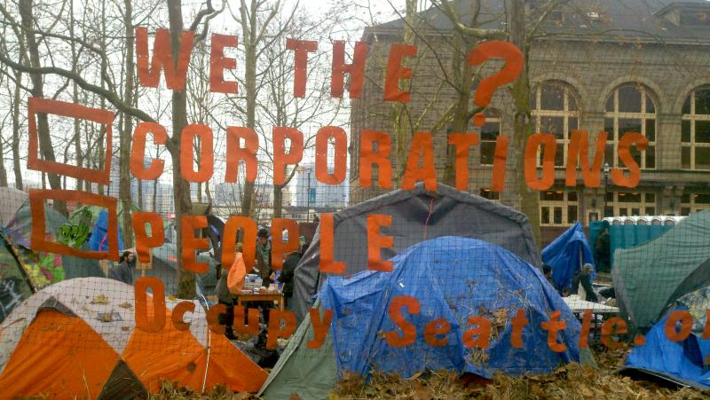 Occupy protesters at the Seattle Central Community College campus earlier this winter.