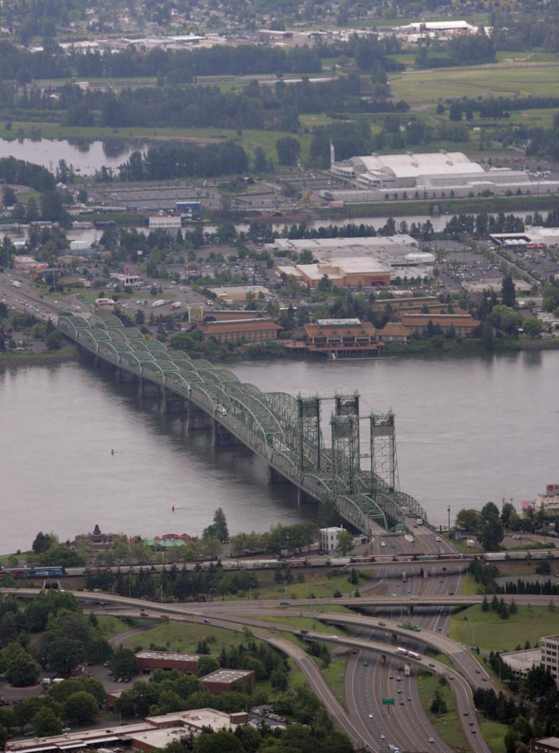 Interstate 5 crosses the Columbia River from Vancouver, Wash., bottom, into Portland, Ore., in this 2005 photo.