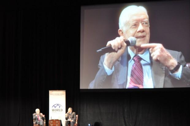 President Jimmy Carter speaks at World Affairs Council 60th Anniversary event in Seattle on Tuesday.