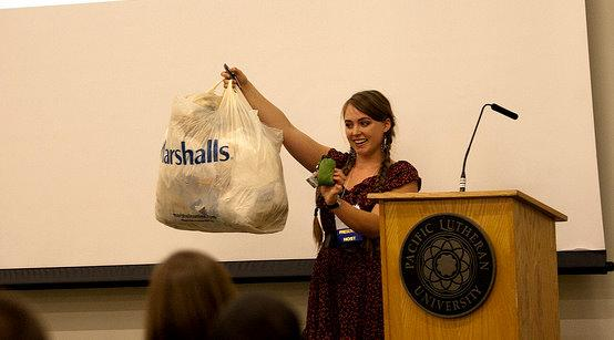 In the Student Forum: PLU senior Stena Troyer, current sustainability director, talks about the environmental impact reusable bags can have on reducing the amount of plastic bags our society uses.