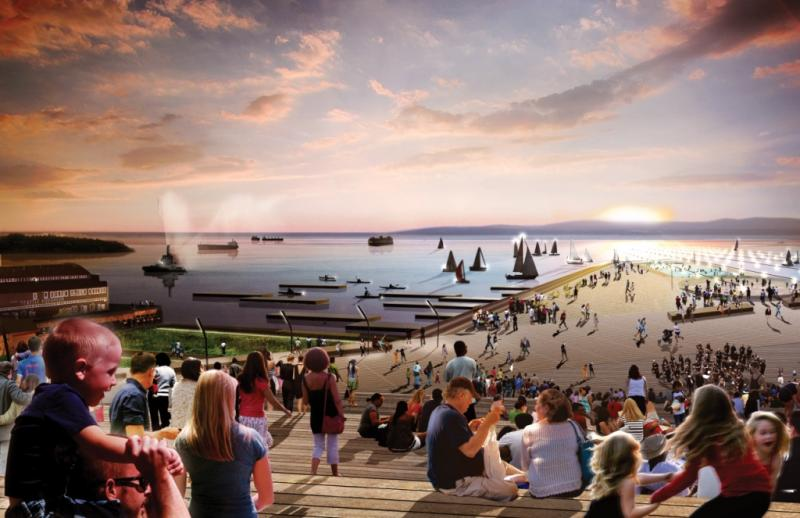 A conceptual rendering of the view looking at Elliott Bay and Pier 62/63 from the proposed Overlook Fold, which would help reconnect the waterfront to downtown and the Pike Place Market.