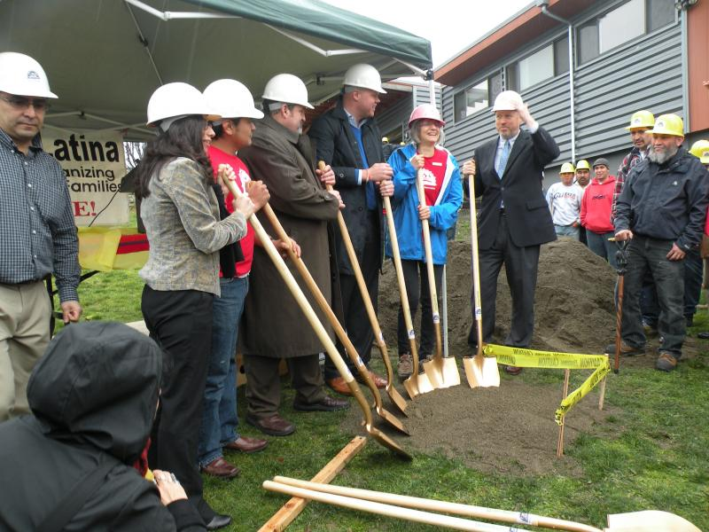 Groundbreaking at Casa Latina with Seattle Mayor Mike McGinn.