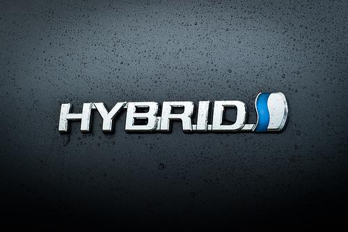 The hybrid badge on a Toyota Prius