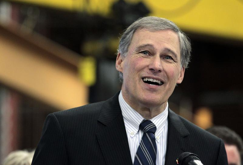 Rep. Jay Inslee speaking at a manufacturing facility earlier this month in Seattle.