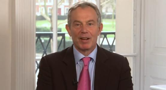 "Tony Blair is shown in a screen grab of his video asking people to ""join me to support Everyone Gives."""