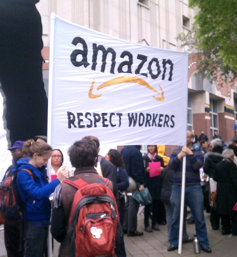 Protesters gathered in front of the Seattle Art Museum where Amazon held its annual shareholder meeting.