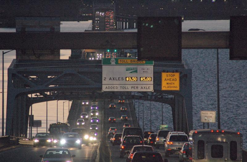 It's moving faster, but there's still lots of weekday traffic on the toll bridge across Lake Washington.