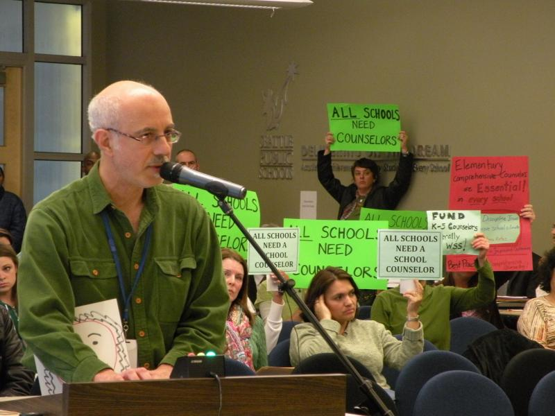 David Bilides, head counselor at Washington Middle School, gave school board members an earful over cuts that have left many colleagues out of work and 37 elementary schools without a counselor.