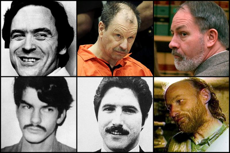 Northwest serial killers (clockwise): Ted Bundy, Gary Ridgway, Robert Lee Yates, Westley Allan Dodd, Kenneth Bianchi, and Robert Pickton.