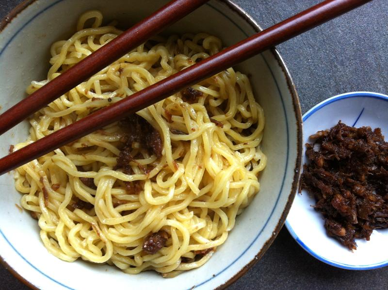 Simple and tasty. Plain boiled noodles with a gob of XO.