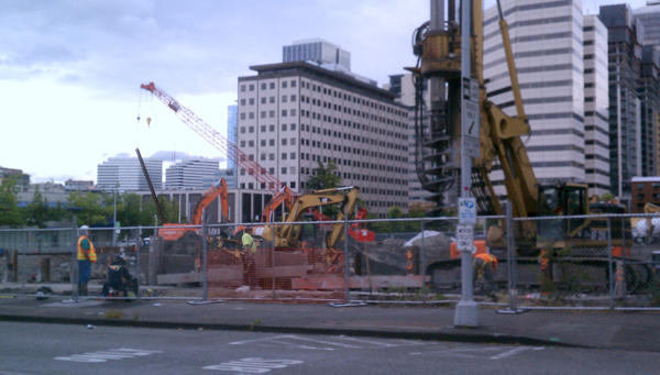Construction has begun on the Insignia Towers, the first condo development in downtown Seattle since 2007