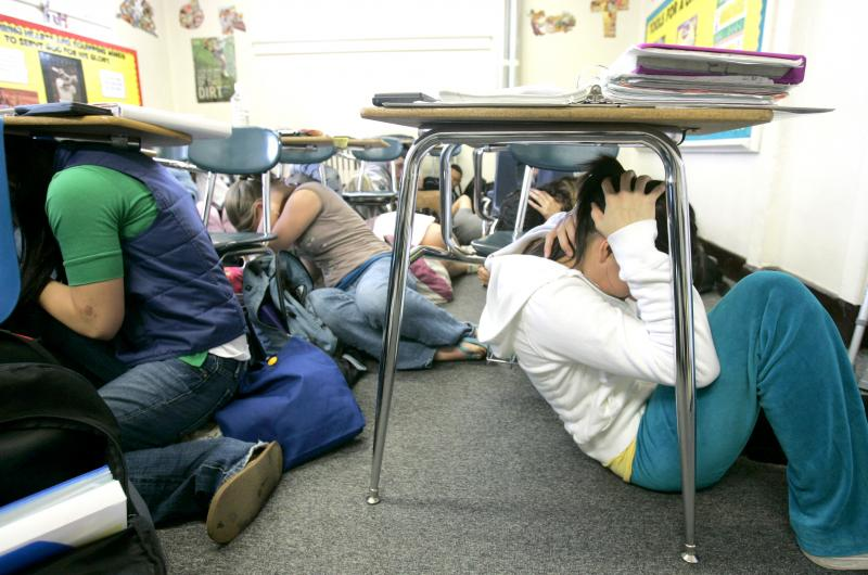 Ninth-grade students take part in a statewide earthquake drill in 2007 in Shoreline. Are you prepared?