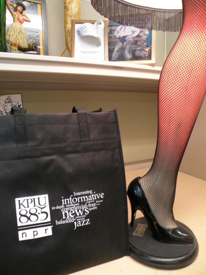 Always on my desk: The KPLU tote.  Big enough to hold a Major Award.