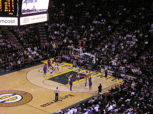 The Sonics playing the Pistons at KeyArena in 2007
