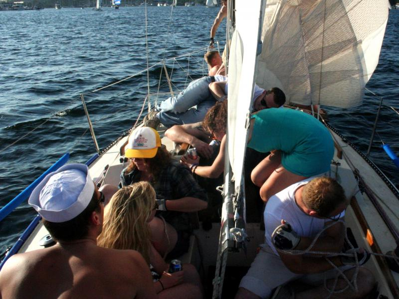 Dozens of sailboats and dinghies participate in Lake Union's Duck Dodge most Tuesday nights.