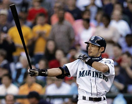 Ichiro gives his iconic tug of his sleeve during while at bat Oct. 3, 2004, in Seattle.
