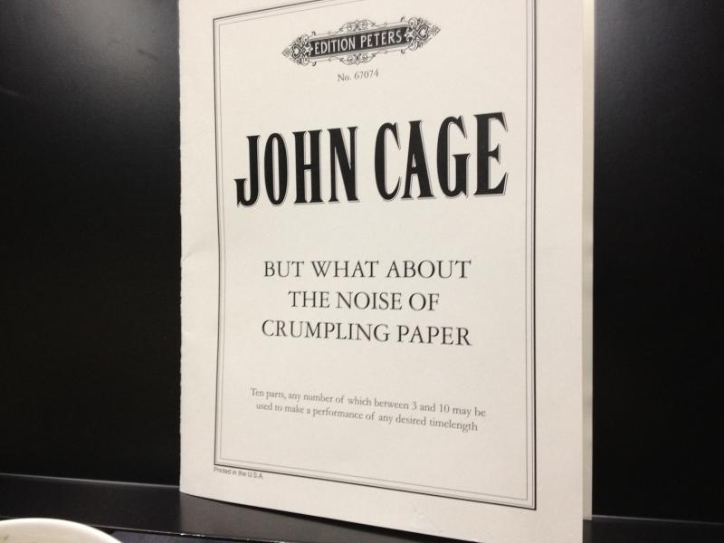 A typical score of a composition by John Cage, at a rehearsal studio in Cologne.