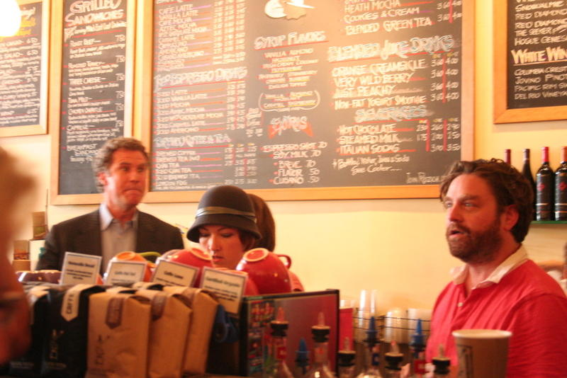Will Ferrell and Zach Galifianakis take coffee orders in a Seattle cafe to stump for votes in their faux election campaign and to promote their new movie, 'The Campaign.'
