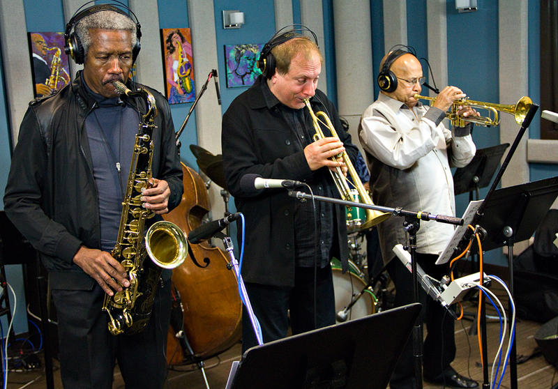 Left to right: Billy Harper (sax), David Weiss (trumpet), and Eddie Henderson (trumpet) perform live in the KPLU studios on June 26.