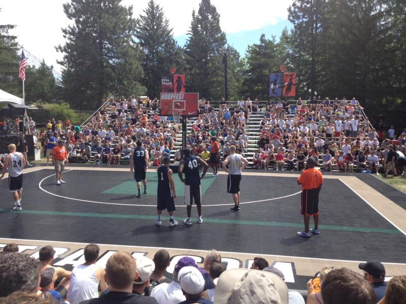 Men's 6-foot-and-over elite division teams playing on the Nike Center Court.