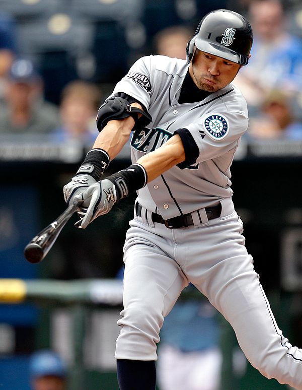 Ichiro bats during the first inning of an MLB baseball game against the Kansas City Royals Sunday, April 17, 2011.